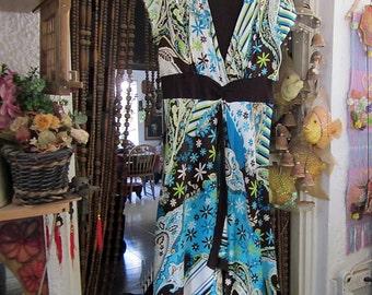 MISS DIOR Gorgeous Unique Asymmetrical Spring Flowers Dress, Vintage - Medium