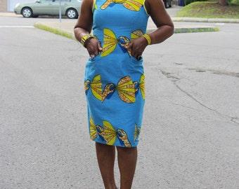 Blue African Print Dress Party Dress Summer Dress