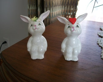Vintage China Bunnies; One With A Red Heart On His/Her Head & The Other Has a Clover