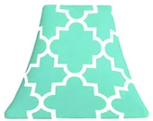 Quatrefoil Mint SLIP COVER for your existing lamp shade - STRETCHES to fit perfectly