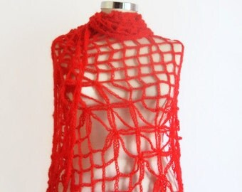 Handmade Crochet Red Shawl-Free Shipping