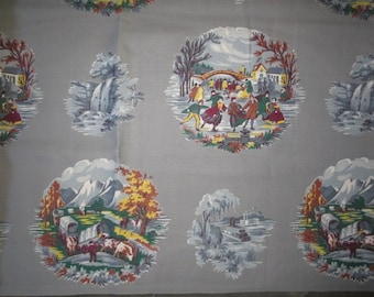 """Vintage Fabric // Gray with Medallion Winter Colonial Scenes // Skaters, Covered Wagons, Sleighs...35 1/2"""" wide X 140"""" long"""