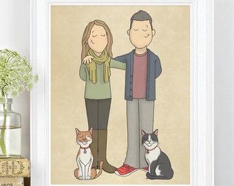 Custom Couple Portraits - Personal Portrait - Bespoke Portrait - Illustrated Portrait - Cartoon Portrait