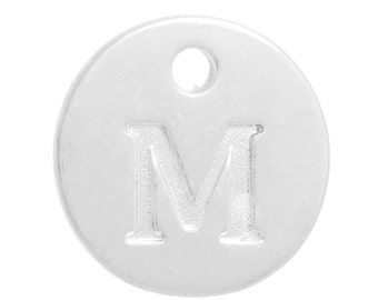 """10 Letter M Alphabet Charms Silver Plated Monogram, double sided round disc letter charms, dot charms, 12mm, (1/2""""), chs2551"""