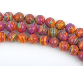 10mm Round RAINBOW Beads, Composite Stone, full strand, about 40 beads, gmx0039