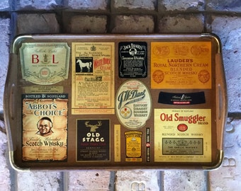 Vintage Scotch Labels Decoupage Serving Tray