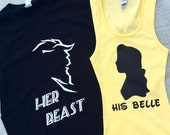 BEAUTY & THE BEAST - Silhouette Duo Shirts - baby, toddler, child, adult, couple, disney disneyland disney world belle beast custom