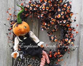 Halloween Wreath, Fall Wreath, Whimsical Fall Wreath, Designer Halloween Wreath, Trick or Treat Decor, Pumpkin Wreath, Halloween Party Decor