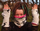 black white moustache pink fleece lined recycled jumper snood and glove handmade set FREESIZE