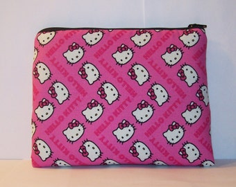 """Padded Pipe Pouch, Pipe Bag, XL Zipper Bag, Hello Kitty, Glass Pipe Case, Gadget Bag, Glass Pipe Cozy, Cute Girly Gift, 7.5"""" x 6"""" - X LARGE"""