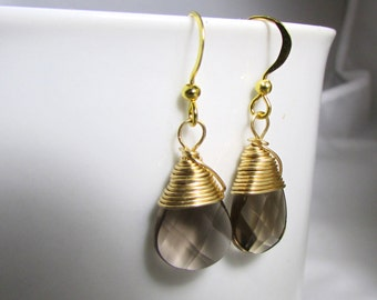 smokey quartz earrings teardrop faceted briolette gemstone smokey quartz glass jewelry bridesmaid earrings