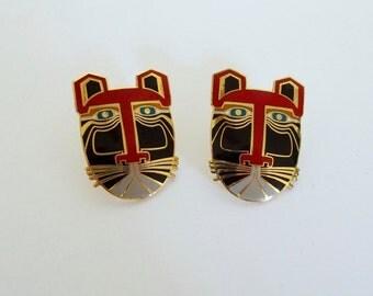 Vintage Laurel Burch Miikio Enamel Post Earrings