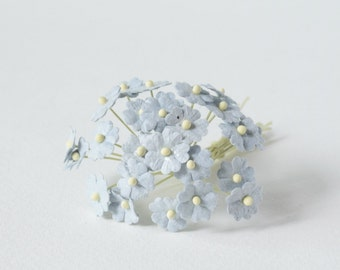 10  mm / 20  Light Indigo blue Mulberry Paper  Flowers