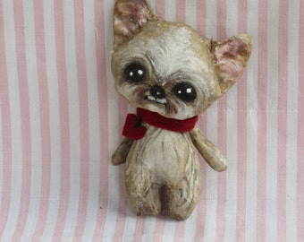 Yorkshire Terrier ,Yorky cloth doll , hand painted , OOAK doll, puppy dog doll .