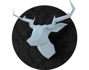 SOLDES/ON SALE Light Blue Foldeer - Deer Head Papertoy