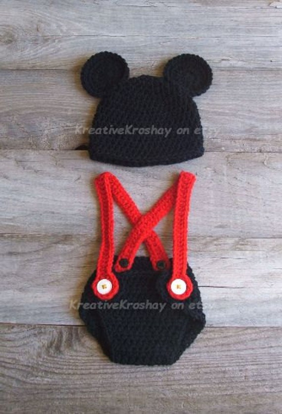 Mickey Mouse Inspired Diaper Cover & Hat Set, Newborn-3 Months OR 3-6 Month Size