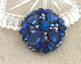 Blue Rhinestone Brooch, Verified Juliana Vintage Rhinestone Jewelry Brooch, D&E Rhinestone Pin, Vintage Juliana Brooch, Dome Brooch