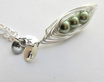 Pea Pod Necklace Silver Wire Wrapped,Mothers Day, Best Friends, Birthdays  initials Customizable