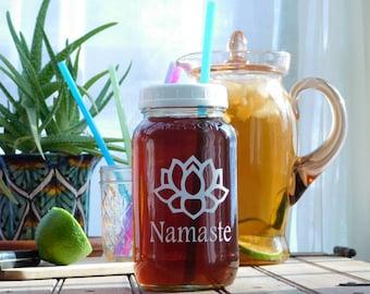 Namaste Lotus Flower Mason Drinking Jar Travel Cup 26 oz Adult Sippy Cups Yoga Workout Water Bottle