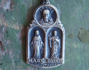 Vintage Jesus, Mary and Joseph Religious Medal