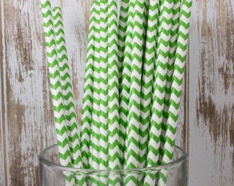 """100 Green Chevron vintage stripe drinking straws - with FREE Blank Flag Template - see also """"Personalized"""" Flags"""