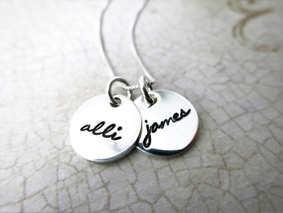 Custom Name Necklace - Two Discs - Two Pendants - Two Names - Gift for Mom - Mommy Necklace - Gift for Grandma - Custom Engraved Necklace