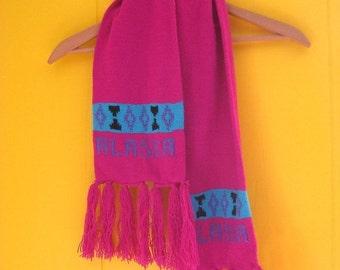 on sale Vintage Scarf/Winter Scarf/Alaska Scarf/80s Accessories/Pink Scarf/Fringe/Tribal Designs/Tourist Scarf/80s Scarf