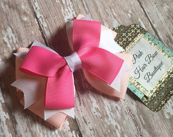 Small pink and white hair bow - 4 inch hair bow