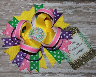 Spring Hair Bow - Beautiful Boutique Hair bow - 5 inch Hair Bow - Spring HairBow - Hair Bow - Boutique Hair Bow - choose your bottle cap