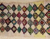 FREE SHIPPING WORLDWIDE T24050 vintage boucherouite rug, moroccan rugs , rag rug, berber tribal art, morocco carpets, wall art