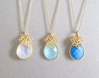 Gemstone and Lotus Flower Gold Necklace - Gold Necklace - Lotus Charm Necklace