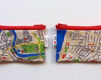 TEL AVIV map wallet for men for woman for travellers, zipper pouch business card holder - written in Hebrew