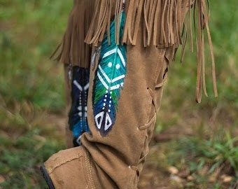 Tribal Dance - Hand Painted Moccasin Boots