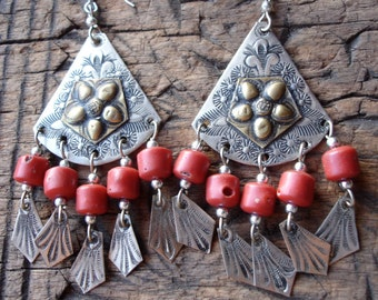 Moroccan large hand engraved red bead earrings with silver hooks