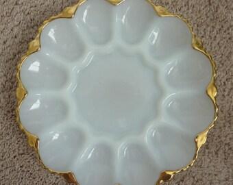 Vintage Deviled Egg / Shrimp Platter Plate
