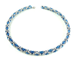 Blue And Silver Byzantine Weave Chainmaille Necklace Handcrafted