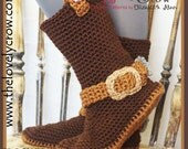 Crochet Pattern Cowboy Boots WOMEN'S Sizes