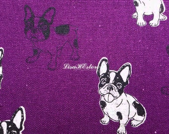 Black bulldog, dark purple, 1/2 yard, cotton linen blended fabric
