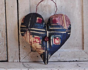 Primitive Folk Art Hanging Quilt Heart, Antique Tattered Quilt, Primitive Home Decor