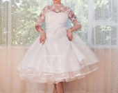 "1950's ""Pearl"" Wedding Dress with Lace Bodice, Sweetheart Neckline, Extra Full Circle Skirt and Petticoat - Custom made to fit"