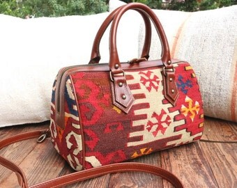 SHIP FREE 2-WAY Old Kilim with Genuine Leather Handbag / Shoulder bag / Purse / cross body  #K2113
