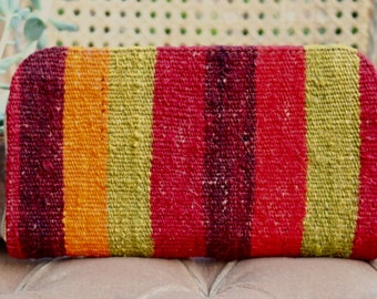 Fast global Shipping/ Wallet made with handwoven vintage kilim and genuine leather #8 / handmade/ clutch bag