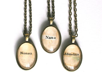 Grandma gift. Custom jewelry for grandmother. Personalized name necklace. Nana jewelry. Ethnic Grandma gift. VIntage art pendant necklace.