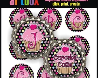 ON SALE Cupcake Cutie Alphabet Bottle Cap Images - (2) 4x6 Digital JPEG BottleCap Collage Sheets - 1 Inch Circles