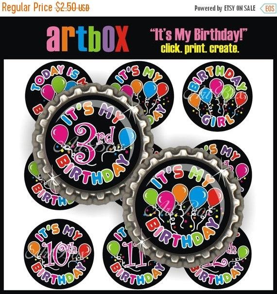 ON SALE Birthday Girl Bottle Cap Images - 4x6 Digital JPEG BottleCap Collage Sheet - 1 Inch Circles for Pendants, Hair Bows, Badge Reels. Ma