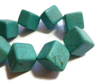 Turquoise Magnesite - Cube or Dice Bead - Large - 24mm x 24mm - Half Strand - 9 beads - Square Teal Box Dice Blue Huge - Extra Large