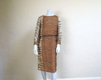 PURRR Vintage Late 60s Silk Chiffon Tiger Print Dress Jr Sophisticates Original