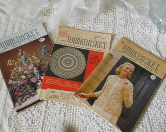 Vintage WORKBASKET Magazine 1958-1960's Set of 3 Crafts Patterns Knitting Crochet Hat Making Huck Weaving And Vintage Advertising Supplies