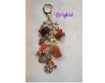 Brighid Charm Clip for Purse /Bag / Jeans / Car - Amethyst / Carnelian\