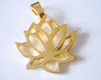 One Gold Plated Lotus Pendant, 30x23mm, Jewelry Supplies